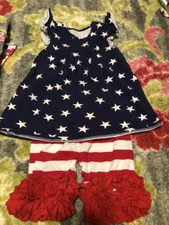 Smocked American Flag Outfit size 4/5T