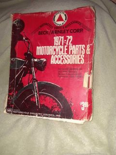 Vintage Beck/Arnley 1971-72 motorcycle parts and accessories catalog