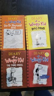 Set of 4 Diary of a Wimpy Kid books