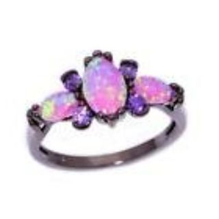 New - Pink Opal and Amethyst Black Ring - Size 7