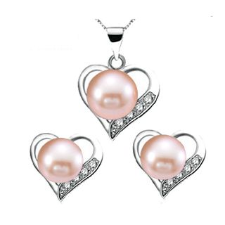 Pink Pearl Necklace Earrings + Free shipping