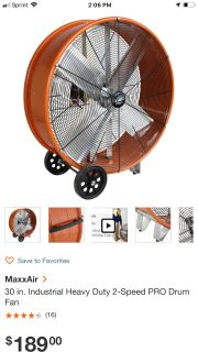 "30"" 2 speed fan"