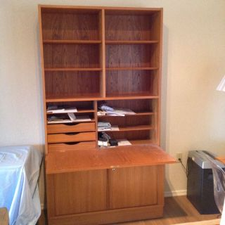Teak secretary Copenhaugen style, two piece with file and drop down desk.