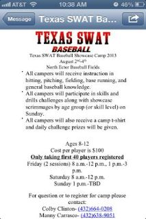 ATN baseball players 3 day c hosted by Tx Swat  (odessa)