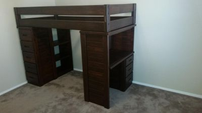 Twin loft bed with desk & drawers