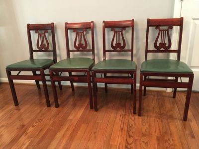 4 Antique Stakmore Music Folding Chairs