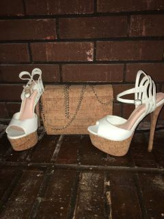 Cork platform stilettos purse as 7 new sea foam blue