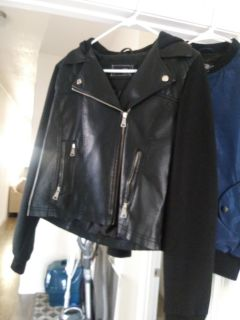 Rue 21 Leather jacket with hood