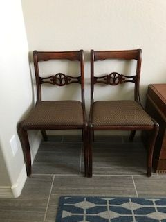 2 dining side chairs--mahogany