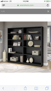 Universal 5 shelf bookcases set of 2 black