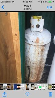 Huge 100lb Propane tank has to be recertified , otherwise it s GUC