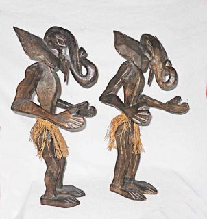 Elephant Man Pair African Wood Carving Large 21""