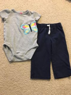 Carter s butterfly onesie w/ navy pants 12mth
