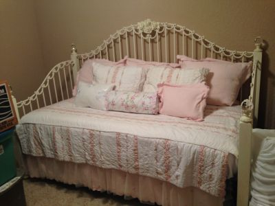 Day Bed, Mattress, Bed Skirt, 2 decorative pillows, & Pillow cases & shams as seen in the picture