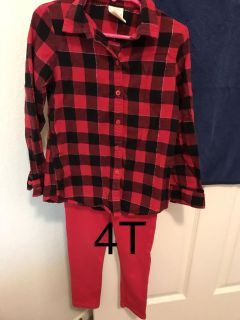 Girls red top and pants