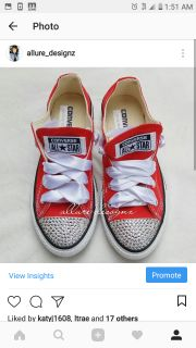 Red women's converse sneakers with swarovski crystals