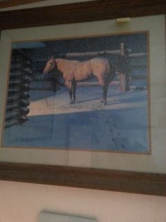 horse in snow picture matted w original wood frame