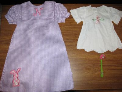 Letter N: Little Girl Dress-by Lolly Wolly Doodle (great for Easter, size 5), size 0-3 Baby Girl Dress & Pacifier Holder