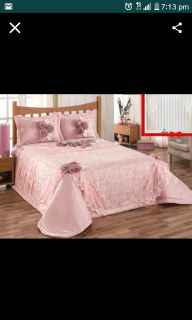 Luxury queen size bed spread with two shams