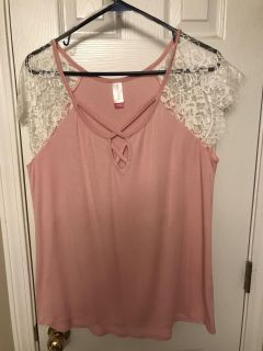 NWOT Pink shirt with lace