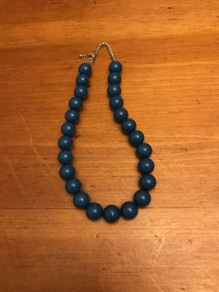 Gorgeous Dark Teal Wooden Bead Necklace