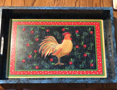 Wooden rooster tray