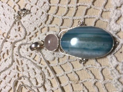 Pendant Beautiful Blue Striped Botswana Agate Large Pink Quartz Silver Setting on Sterling Silve...