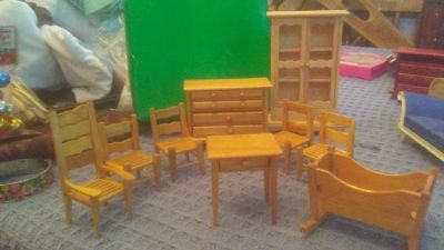 9 Piece NICE set of Dollhouse Doll House Furniture. 4 chairs 1 high back chair. 1 Baby cradle 1 chest. 1 end type table. 1 China Hutch