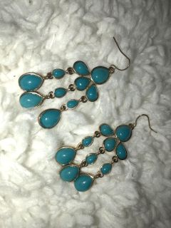Gold and Teal Dangle Bubble Earrings