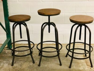 Industrial Swivel Adjustable Bar Stools - price for all 3