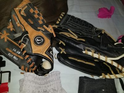 Youth and adult baseball gloves, right hand