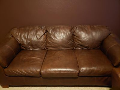 Leather couch, loveseat and chaise