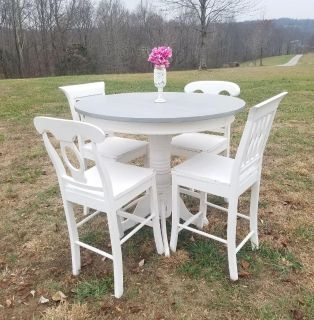 TALL COUNTRY GRAY AND WHITE FARMSTYLE DINING TABLE (CHAIRS SOLD SEPARATELY)