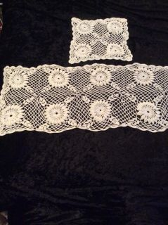 Off white doily set table runner or dresser scarf is 11x62 and small table doily is 9 1/2 square it appears handmade in EUC