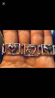 Sterling Silver bracelet with hearts