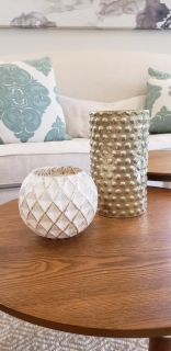 West Elm Modern Gold Hobnail and White and Silver Metal Vases.