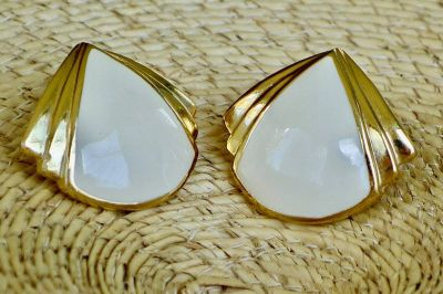 1950's Vintage Trianglar Design Cermic TRAFARI Earrings