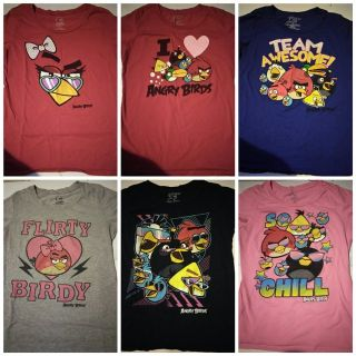 6 piece Size large angry birds t-shirts