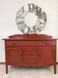 Primitive Rustic Red Antique Buffet Entertainment Center Kitchen Island