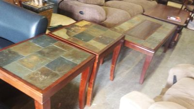 3 piece wood coffee table set with inset tiles in excellent shape delivery available