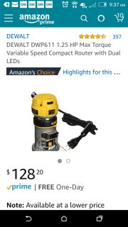 New in box, Router and bit set, DeWalt DWP611, 1.25hp max torque, variable speed compact Router with dual LED and Pro Series bit set