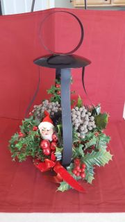 """Vintage 15"""" Tall Black Wrought Iron Christmas Candle Holder Centerpiece"""