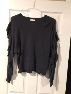 Nordstrom Leith Navy Ruffle Sleeve Sweater