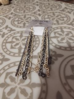 Sliver tone and black chain earrings