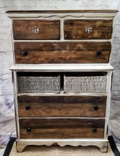 Distressed Rustic Farmhouse / Coastal Theme Chest of Drawers