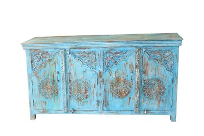 Lotus Sideboard Blue Reclaimed Wood Arched Door Rustic Chest Buffet