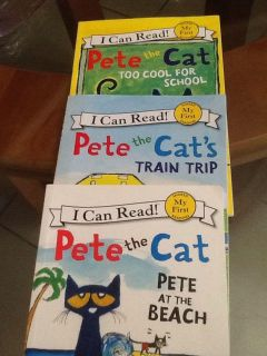 """EUC! I Can Read! Pete the Cat! """"Too Cool for School"""" """"Train Trip"""" & """"Pete At The Beach"""" Children's books! NS Meet AB park or PPU"""