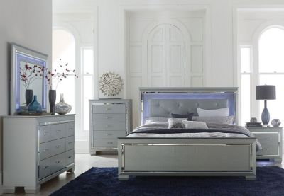 INVENTORY BLOWOUT!! DESIGNER QUALITY QUEEN LED LIT / GLASS BED SET!
