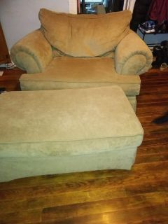 Oversized Tan Chair and Ottoman