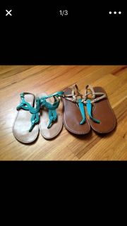2 pairs of blue sandals